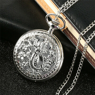 Elegant Cute Mermaid Silver Pocket Watch for Women with Sweater Necklace Chain