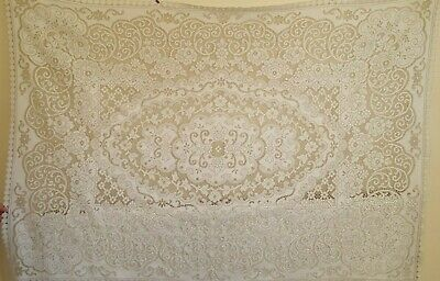 Vintage Extra Large Lace Tablecloth 70.5 Inches x 47.5 Inches