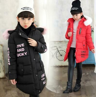 Girls Kids Winter Cotton Padded Quilted Puffer Jacket Fur Hooded Long Coat Parka