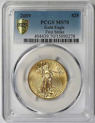 2009 American Gold Eagle $25 Half-Ounce MS 70 PCGS 1/2 oz First Strike Secure