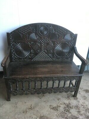 19th Century Carved Oak Hall Bench