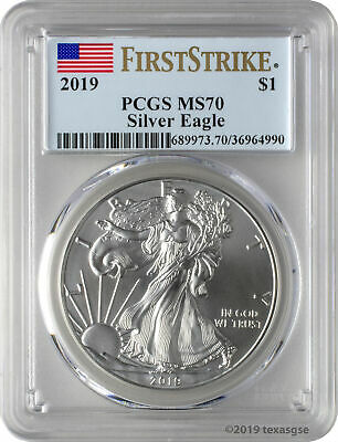 2019 $1 American Silver Eagle PCGS MS70 First Strike - Blue Flag Label