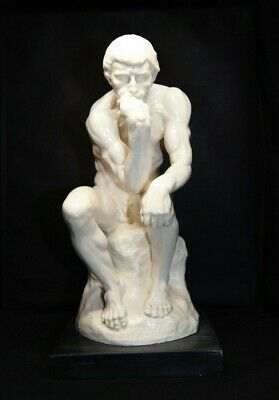 "Vintage Alabaster Statue ""THE THINKER""  Signed by Italian Sculptor A. Santini/"