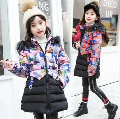 Girls Kids Floral Padded Quilted Puffer Jacket Fur Hooded Winter Parka Long Coat