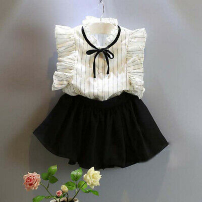 2pcs Toddler Kid Baby Girl Summer Outfits Clothes T Shirt Tops+shorts Skirt 3-7y