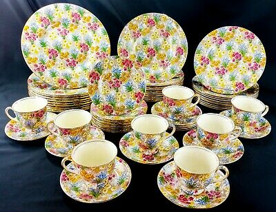Royal Winton Grimwades Marguerite 59 PC SET FOR 10 Chintz 1930-1951 Exceptional!