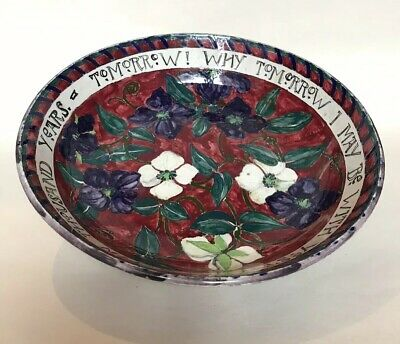 Scottish 'Arts & Crafts' Pottery Bowl with Motto by Dolly Watson c.1917