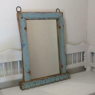Antique Rustic Wall Hung Original Paint Mirror With Carving 1860 Over Mantle