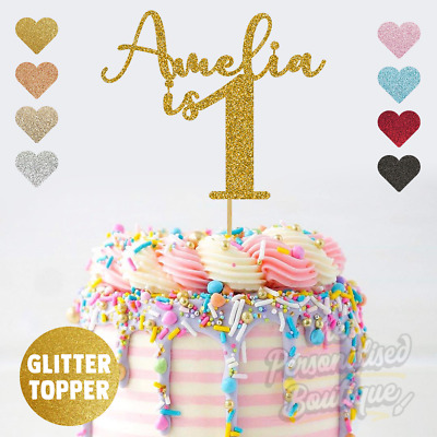 Outstanding Personalised Custom Glitter Cake Topper Is One First 1St Birthday Birthday Cards Printable Inklcafe Filternl