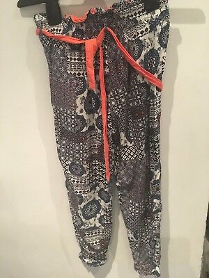 Cool Blue And Coral Summer Trousers From Dunnes Stores.  Age 8