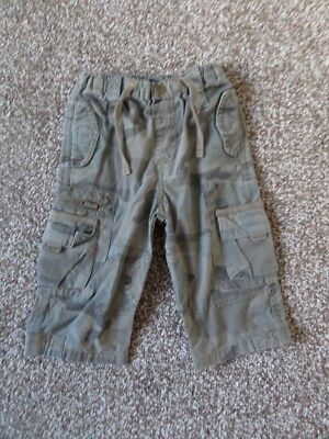 Next Boys Camouflage Trousers 100% Cotton Size 9-12 Months