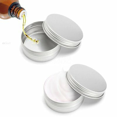 24 X Steel Round Tin Cans 50g Screw Top Lid Storage Beard Lip Balm Empty Can
