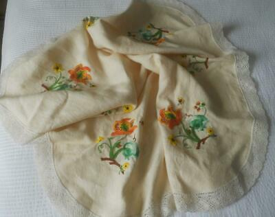 Vintage 50'S 60'S Embroidered Linen Table Cloth Jacobean Design Flowers & Bees
