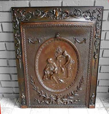 ANTIQUE Iron FIREPLACE COVER & FRAME *FAMILY SCENE*  EARLY 1900s