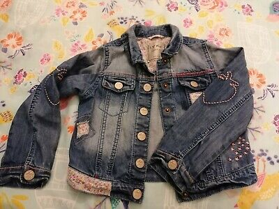 Gorgeous Girls Age 5-6 Years NEXT Denim Jacket Strawberry With Love Ditsy Fabric