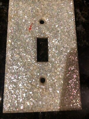 Vintage Lucite Light Switch Plate Cover Mother of Pearl 1950s Single
