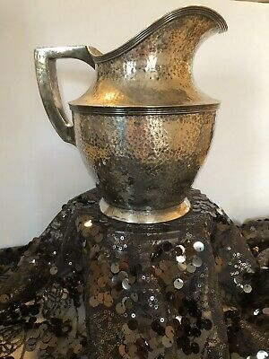 TABER & TIBBITS: Vtg Hand Hammered Nickel Silver Plate Water Pitcher 419 66