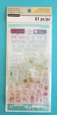 Recollections Planner Accessories Stamp /& Stencil Set Misc Icons NEW 501851