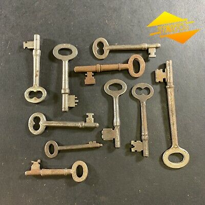 Lot X10 Antique Steel & Iron Victorian Skeleton Keys Vintage Padlock Door K8