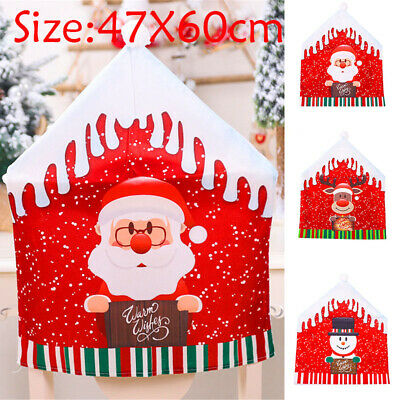 Santa Claus Christmas Chairs Cover Cap Dinner Table Red Hat Back Decorations USA