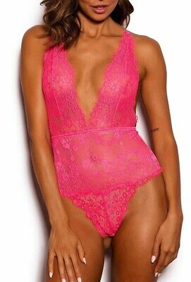 Brand New Bras N Things Kimmy Pink  Lace Bodysuit Size 10
