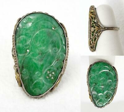 "Antique Chinese Filigree Silver & Carved Pierced Jade BIG 1 ¼"" Ring Size 5.5"