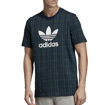 Adidas Originals Men's Tartan AOP Allover Print T-Shirt (Collegiate Navy) ED7032