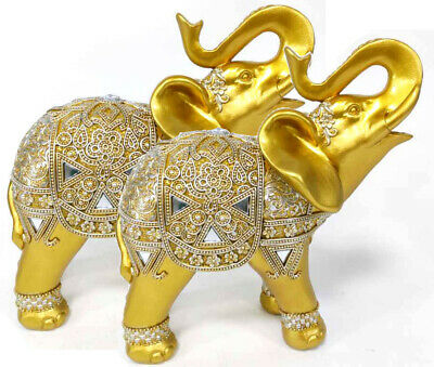 Set of 2 Gold Lucky Elephants Statues Feng Shui Figurine Home Decor Gift