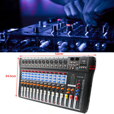 CT120S-USB 12 Channel Digtal Mic Line Audio Mixing Mixer Console w/ 48V Phantom