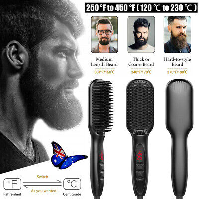 Quick Beard Straightener Multifunctional Hair Comb Curling Curler + Disp UN