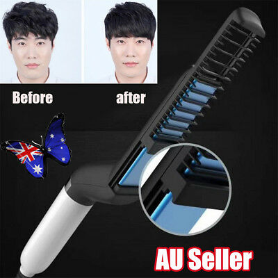 Mens Quick Beard Straightener Multifunctional Hair Comb Curling Curler Salon UN