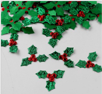 PK 2 HOLLY BERRY CHRISTMAS EMBELLISHMENT TOPPERS FOR CARDS-SET 8