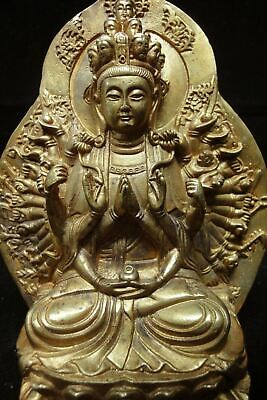 """Top Quality Chinese Old Gilt Bronze Many Hands """"GuanYin"""" Buddha Statue Sculpture"""