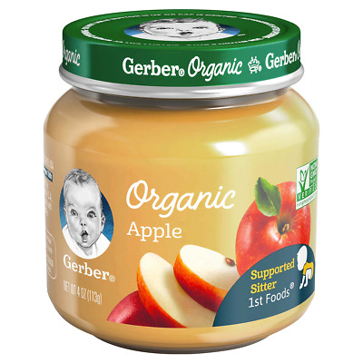 Lot 6 Jars Gerber 1st Foods Organic Apple, 4 Oz