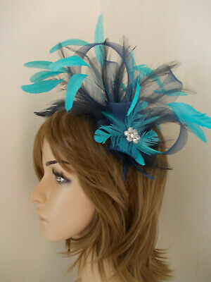 Navy Blue Turquoise Fascinator fan shape feathers diamante headband alice