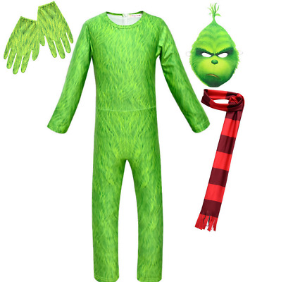 Kids Boys The Grinch Cosplay Jumpsuit Mask Costume Green Outfit Christmas Suit
