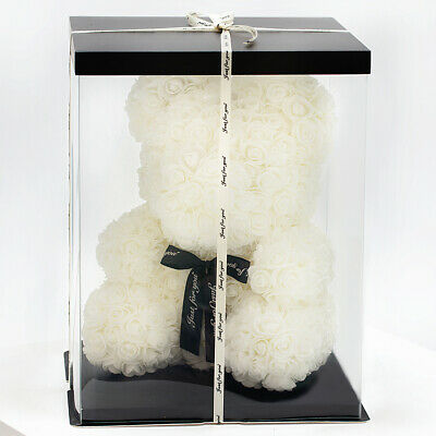 Weihnachtsgeschenk Rose Bear Flower Valentinstag Party Love Teddy 25cm Box Weiß
