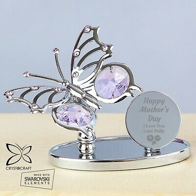 Personalised Crystocraft Butterfly Mum Mothers Day Gift Silver Plated Swarovski