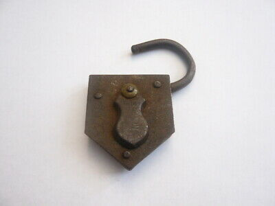 Victorian British Made Antique Vintage Old Lock Padlock Steel & Brass No Key