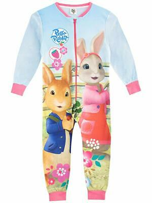 Kids Peter Rabbit Fleece All In One Sleepsuit Pyjamas Pjs Nightwear Girls Gift