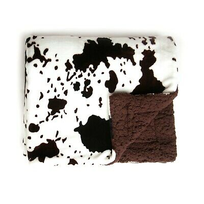 New Tadpoles Plush Sherpa Cowhide Print Double Layer Baby Blanket