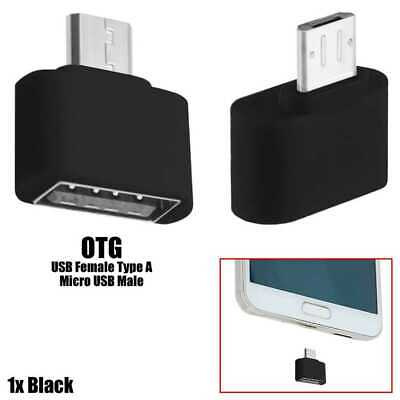 Mini Adapter Micro USB zu USB 2.0 OTG On The Go Stecker für Sony Huawei Schwarz