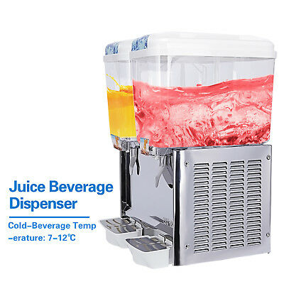 2 Tank Commercial Juice Beverage Dispenser Machine Frozen Cold Fruit Drink