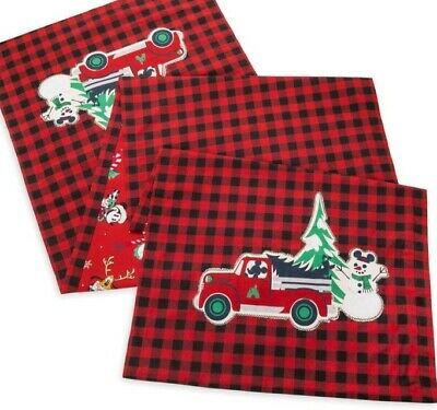 Disney Parks 2019 Red Mickey's Farmhouse Christmas Holiday Table Runner New