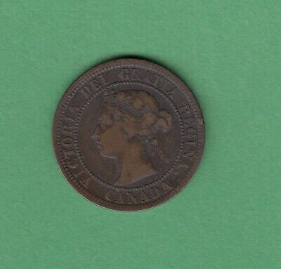 1892 Canadian Large One Cent Coin - Obverse 2 - VG-10