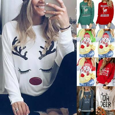 Women Christmas Xmas Printed Jumper Sweatshirt Long Sleeve Pullover Tops Hoodies