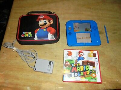 Nintendo 2DS Handheld Game - Blue w/ super mario 3d land Game & charger working