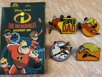 NEW Disney 2019 The Incredibles Mystery Box 4 Pin Set Super Dad Violet+++