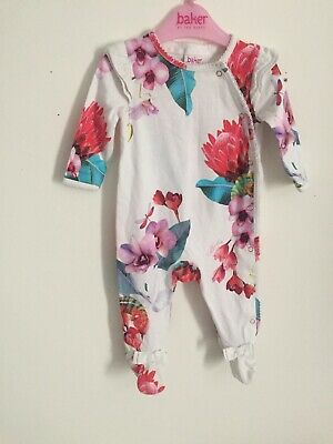 Baby Girls White Rose Print SLEEPSUIT Size 0-3 months Baker By Ted Baker