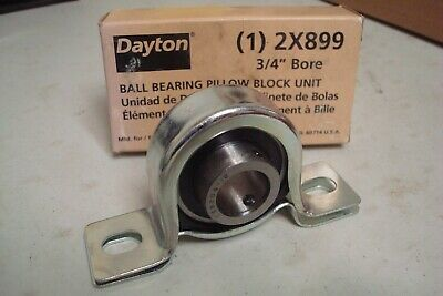 "DAYTON 2X899 Pillow Block Bearing,Ball,3/4"" Bore.( Lot 794)"